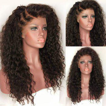 Long Deep Side Part Bouffant Kinky Curly Synthetic Lace Front Wig - DEEP BROWN DEEP BROWN
