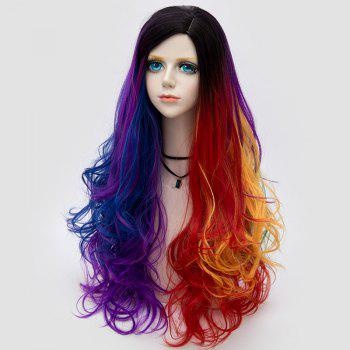 Side Parting Layered Fluffy Long Wavy Colormix Synthetic Party Wig - BLUE / PURPLE