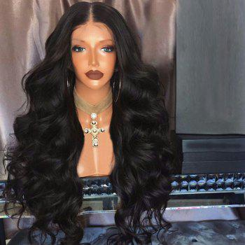 Long Middle Part Fluffy Bouffant Wave Synthetic Lace Front Wig - BLACK BLACK