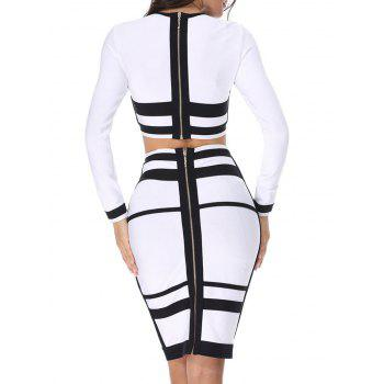 Two Tone Two Piece Bodycon Bandage Dress - WHITE/BLACK XS