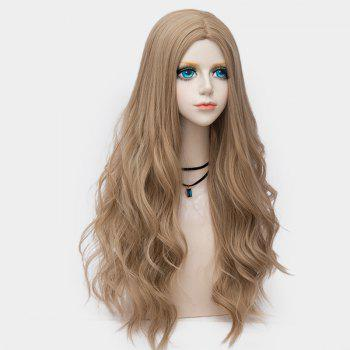 Long Center Parting Layered Wavy Synthetic Party Wig - LIGHT BROWN LIGHT BROWN