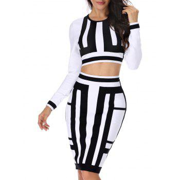 Two Tone Two Piece Bodycon Bandage Dress - WHITE AND BLACK WHITE/BLACK
