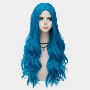 Long Center Parting Layered Wavy Synthetic Party Wig -  BLUE