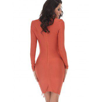 Lace-up Long Sleeve Bodycon Bandage Dress - ORANGE ORANGE