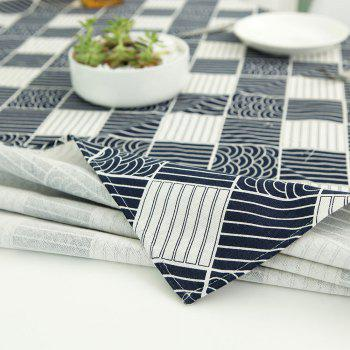 Linen Checked Pattern Table Cloth - WHITE/BLACK W35.5 INCH * L35.5 INCH