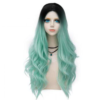 Long Center Parting Layered Wavy Synthetic Party Wig - MINT GREEN MINT GREEN