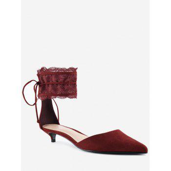 Two Pieces Ankle Strap Pointed Toe Sandals - WINE RED 34