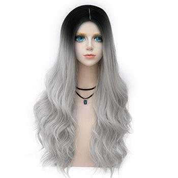 Long Center Parting Layered Wavy Synthetic Party Wig - FROST FROST