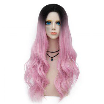 Long Center Parting Layered Wavy Synthetic Party Wig - LIGHT PINK LIGHT PINK