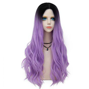 Long Center Parting Layered Wavy Synthetic Party Wig - PURPLE PURPLE