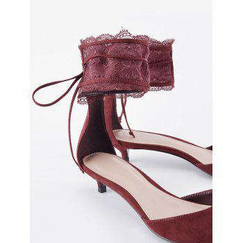 Two Pieces Ankle Strap Pointed Toe Sandals - WINE RED 36