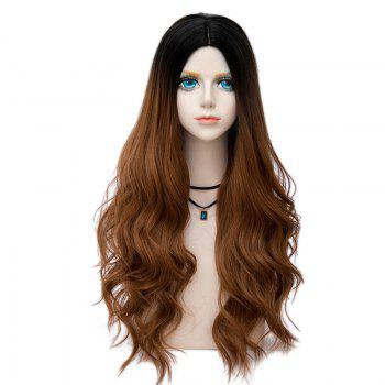 Long Center Parting Layered Wavy Synthetic Party Wig - BROWN BROWN