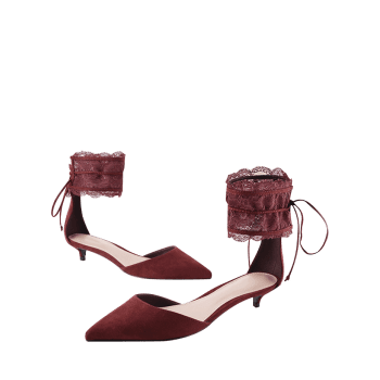 Two Pieces Ankle Strap Pointed Toe Sandals - WINE RED 39