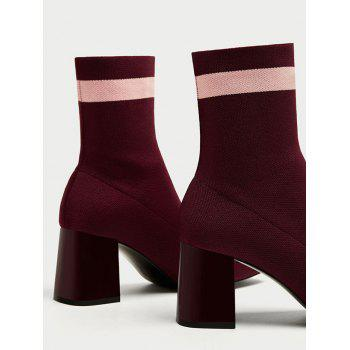 Striped Color Block Pointed Toe Boots - WINE RED 40