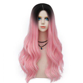 Long Center Parting Layered Wavy Synthetic Party Wig - WATER RED WATER RED