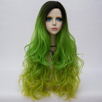 Long Side Parting Colormix Layered Shaggy Ombre Wavy Synthetic Party Wig - EMERALD EMERALD