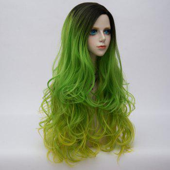 Long Side Parting Colormix Layered Shaggy Ombre Wavy Synthetic Party Wig -  EMERALD