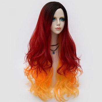Long Side Parting Colormix Layered Shaggy Ombre Wavy Synthetic Party Wig - BLACK/JACINTH