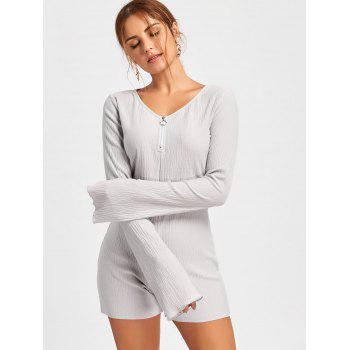 Textured Raw Hem Flare Sleeve Romper - GRAY XL