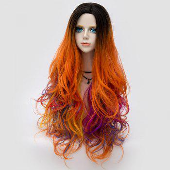 Long Side Parting Colormix Layered Shaggy Ombre Wavy Synthetic Party Wig - PINK/ORANGE
