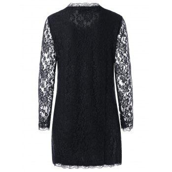 Long Sleeve Sheer Mini Lace Dress - BLACK BLACK