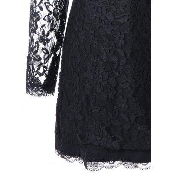 Long Sleeve Sheer Mini Lace Dress - BLACK 2XL