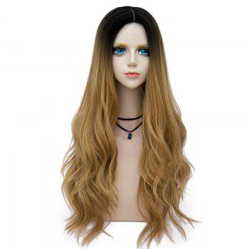 Long Center Parting Layered Wavy Synthetic Party Wig - GOLD BROWN GOLD BROWN