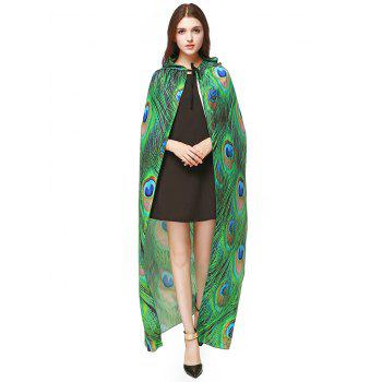 Peacock Feather Printed Magic Cloak - GREEN