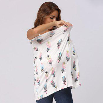 Multicolor Feather Printed Nursing Cover -  WHITE