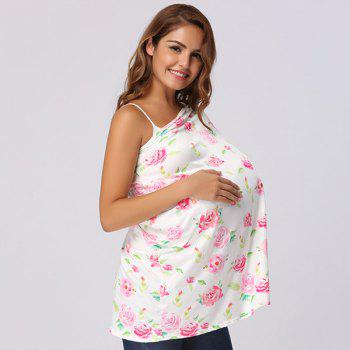 Pink Roses Printed Nursing Cover -  WHITE