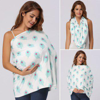 Peacock Feathers Printed Nursing Cover - WHITE WHITE