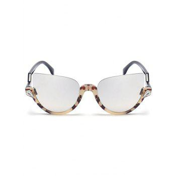 Half Frame Zigzag Legs Cat Eye Sunglasses - REFLECTIVE WHITE COLOR