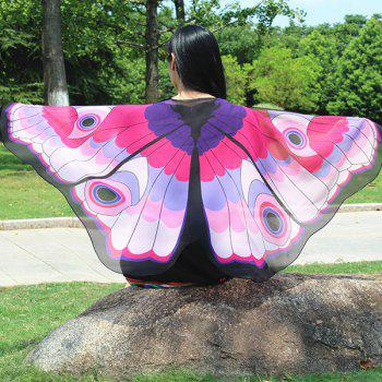 Colorful Butterfly Wings Shape Scarf - PINK PINK