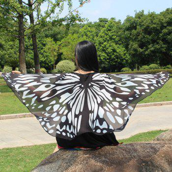 Colorful Butterfly Wings Shape Scarf - BLACK WHITE BLACK WHITE