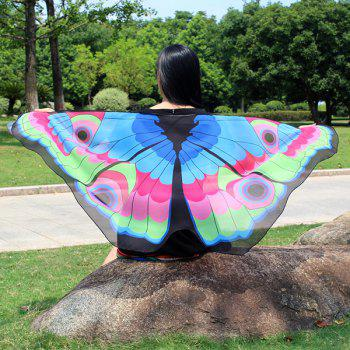 Colorful Butterfly Wings Shape Scarf - LAKE BLUE LAKE BLUE