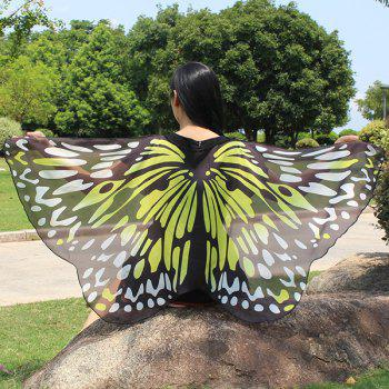 Colorful Butterfly Wings Shape Scarf - YELLOW YELLOW