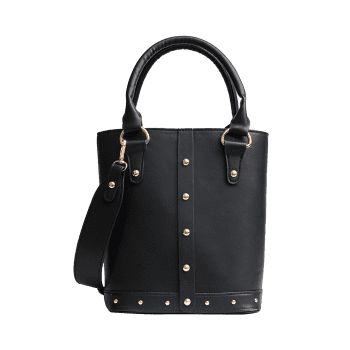 Rivet Faux Leather Tote Bag -  BLACK