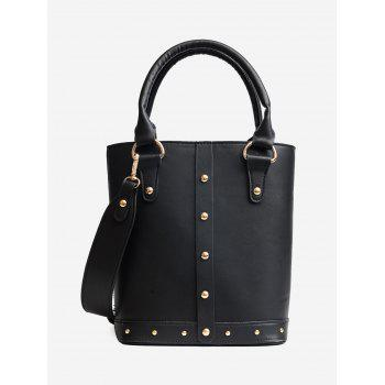 Rivet Faux Leather Tote Bag - BLACK BLACK