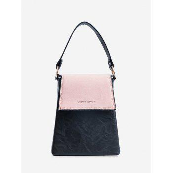 Color Block Embossing Faux Leather Handbag - PINK PINK