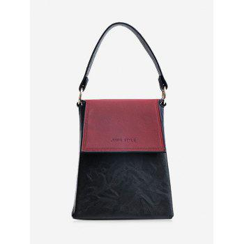 Color Block Embossing Faux Leather Handbag - WINE RED WINE RED