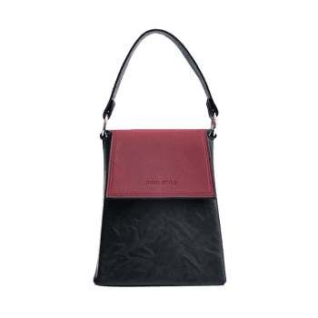 Color Block Embossing Faux Leather Handbag -  WINE RED