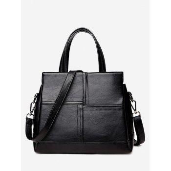 Stitching Cross Faux Leather Tote Bag - BLACK BLACK