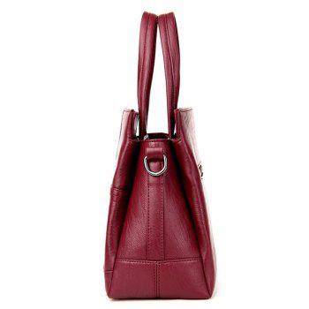 Stitching Cross Faux Leather Tote Bag -  WINE RED
