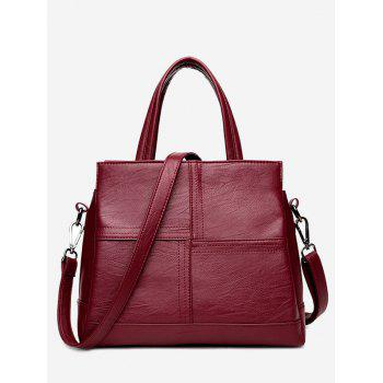 Stitching Cross Faux Leather Tote Bag - WINE RED WINE RED