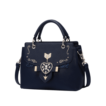 Rhinestone Glitter Embroidery Tote Bag - BLUE