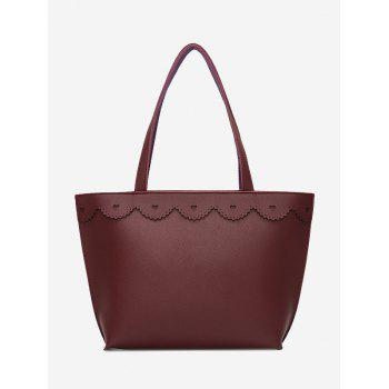 Heart Pattern Faux Leather Shoulder Bag - PURPLISH RED PURPLISH RED