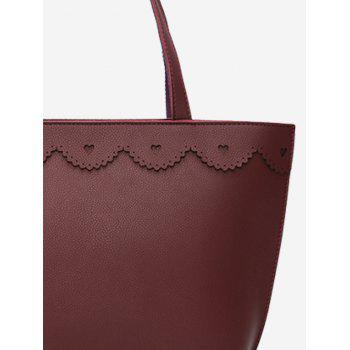 Heart Pattern Faux Leather Shoulder Bag -  PURPLISH RED
