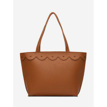 Heart Pattern Faux Leather Shoulder Bag - BROWN BROWN