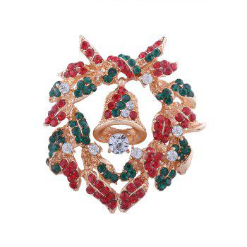 Rhinestone Christmas Bell Wreath Brooch - COLORMIX COLORMIX