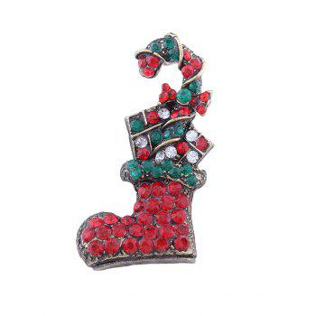 Rhinestone Christmas Shoe Candy Cane Brooch - RED RED